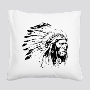 Native American Chieftain Square Canvas Pillow