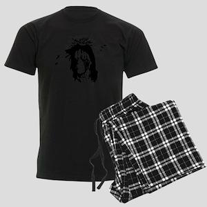 American Indian Warrior with P Men's Dark Pajamas