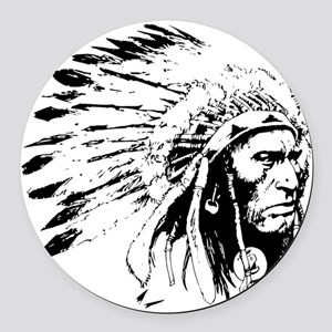 Native American Chieftain Round Car Magnet