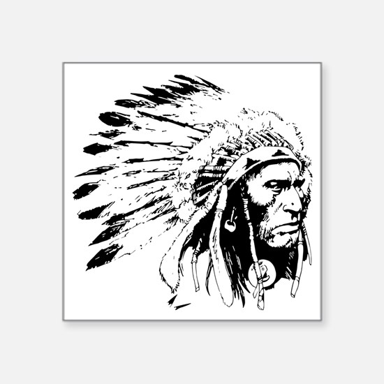 "Native American Chieftain Square Sticker 3"" x 3"""