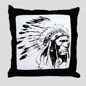 Native American Chieftain Throw Pillow