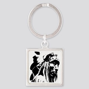 Native American Chief Art Square Keychain