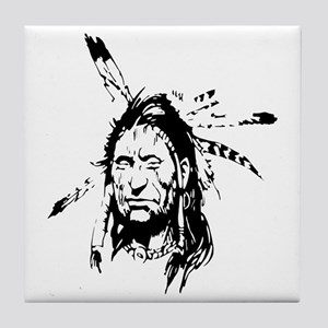 Native Warrior Four Feathers Tile Coaster