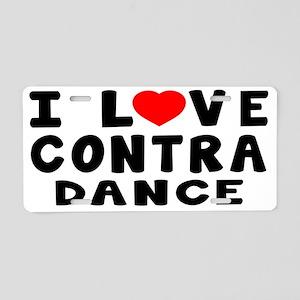I Love Contra Dance Aluminum License Plate