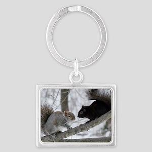 Black Squirrel Landscape Keychain