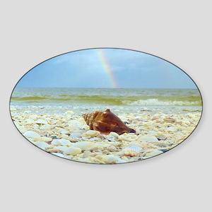 Sanibel Seashells Under The Rainbow Sticker (Oval)