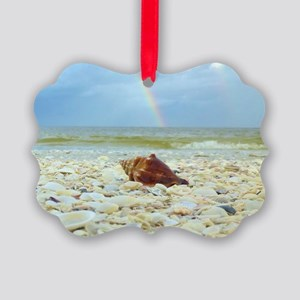 Sanibel Seashells Under The Rainb Picture Ornament
