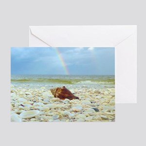 Sanibel Seashells Under The Rainbow Greeting Card