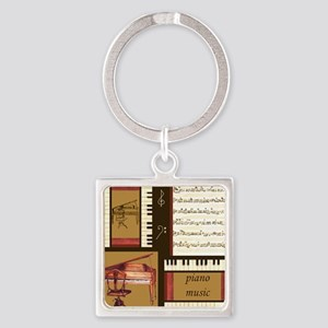 Piano Keys Music Song Clef Square Keychain