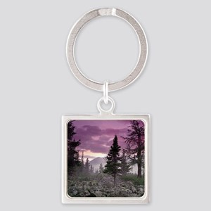 Beautiful Forest Landscape Square Keychain