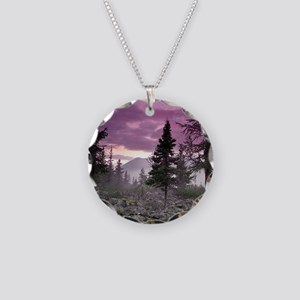 Beautiful Forest Landscape Necklace Circle Charm