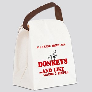 All I care about are Donkeys Canvas Lunch Bag