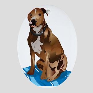 Pitbull Brown nbg Oval Ornament