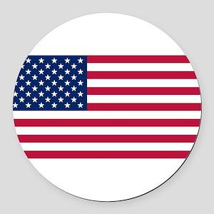 US Flag large Round Car Magnet