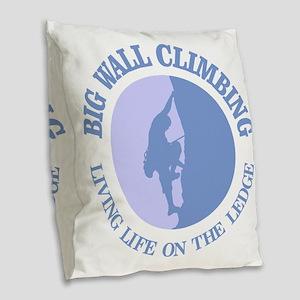 Big Wall Climbing Burlap Throw Pillow