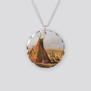 Teepees on the Plain Necklace Circle Charm