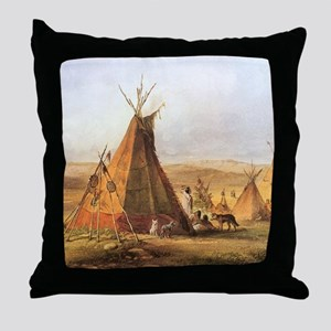 Teepees on the Plain Throw Pillow