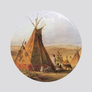 Teepees on the Plain Round Ornament