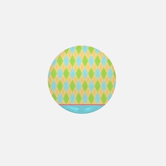 yellow blue green argyle pattern Mini Button