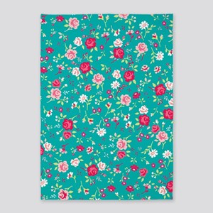 turquoise floral 5'x7'Area Rug