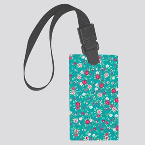turquoise floral Large Luggage Tag