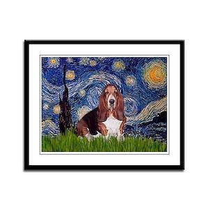 Starry / Basset Hound Framed Panel Print