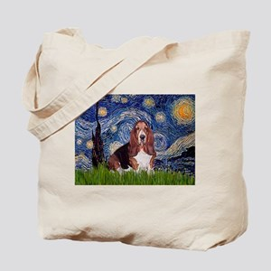 Starry / Basset Hound Tote Bag