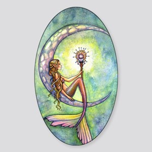 Mermaid Moon Fantasy Art Sticker (Oval)