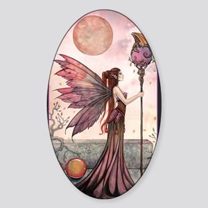 The Golden Dragon Fairy Fantasy Art Sticker (Oval)