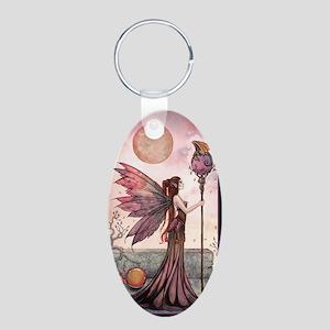 The Golden Dragon Fairy Fan Aluminum Oval Keychain