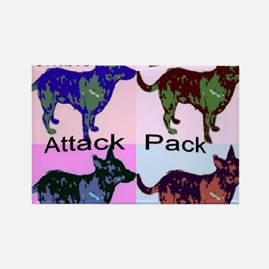 Zombie Dog Attack Pack Rectangle Magnet