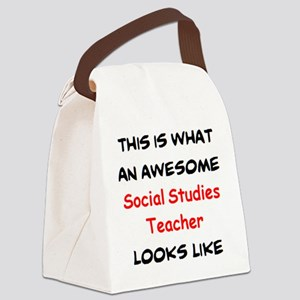 awesome social studies teacher Canvas Lunch Bag