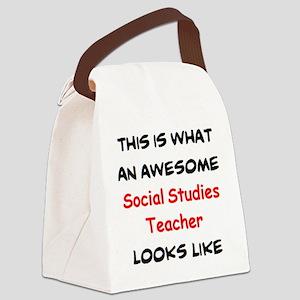 awesome social studies teacher Canvas Lunch Bag