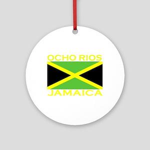 Ocho Rios, Jamaica Flag (Dark Ornament (Round)