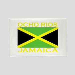 Ocho Rios, Jamaica Flag (Dark Rectangle Magnet