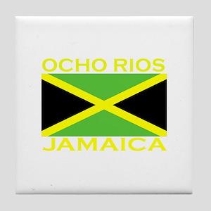 Ocho Rios, Jamaica Flag (Dark Tile Coaster