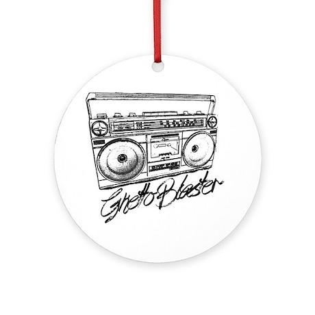 Ghetto Blaster Black Round Ornament