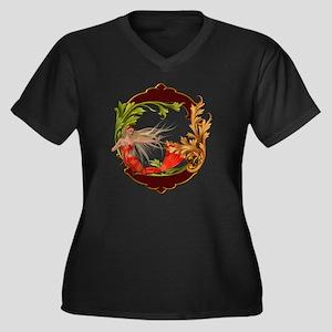 Best Seller  Women's Plus Size Dark V-Neck T-Shirt
