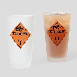 Orange Explosives Warning Sign Drinking Glass