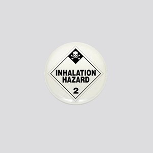 White Inhalation Hazard Warning Sign Mini Button