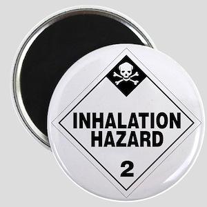 White Inhalation Hazard Warning Sign Magnet