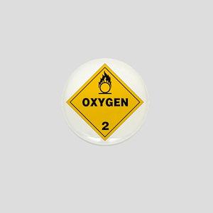 Yellow Oxygen Warning Sign Mini Button