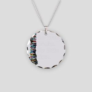So Many Books Dark Backgroun Necklace Circle Charm