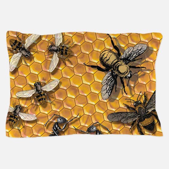 bees and honeycomb illustration Pillow Case