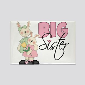 Big Sister Two Bunnies Rectangle Magnet