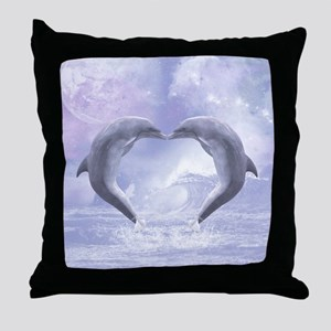 Dolphins Kisses Throw Pillow