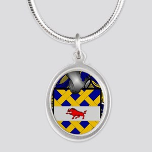 McCann Family Crest - coat of Silver Oval Necklace