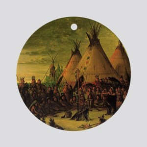 Sioux War Council by George Catlin Round Ornament