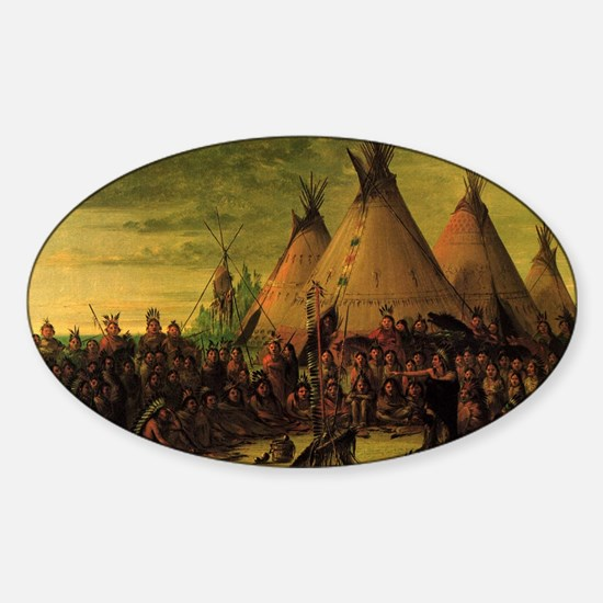 Sioux War Council by George Catlin Sticker (Oval)