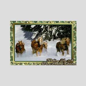 Haflinger Horse Christmas Rectangle Magnet